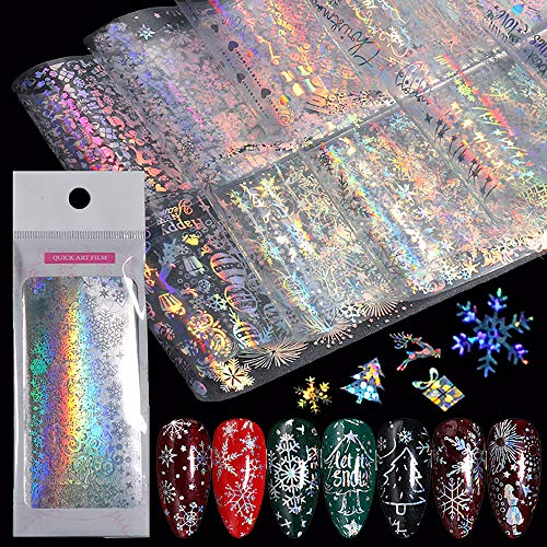 10 Sheets Snowflake Nail Foil Transfer Sticker - 3D Holographic Laser Winter Nail Art Stickers Decals Snowflake Flower Xmas Elk Christmas Foils Transfer DIY Manicure Nail Decorations for Women Girls