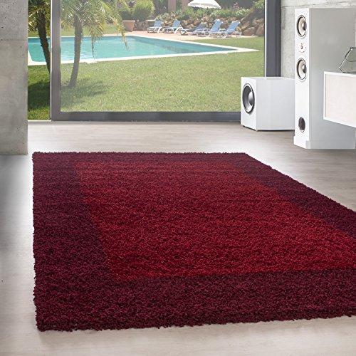 Unbekannt Shaggy Hochflor Langflor Bordüre Teppich Wohnzimmer Carpet Farben & Größen, Größe:60x110 cm, Farbe:Rot