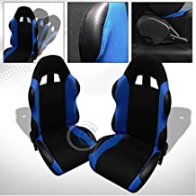 2X Universal TS BLK Leather/Blue Cloth RECLINABLE Racing Bucket Seats+Slider C01