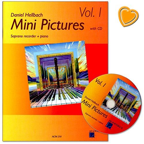Mini Pictures Band 1 – zeer lichte poppig-rockige stukken voor sopraanblokfluit, piano als aanvulling op elke school in de 1e Jaar - noten met CD en met kleurrijke hartvormige muziekklem