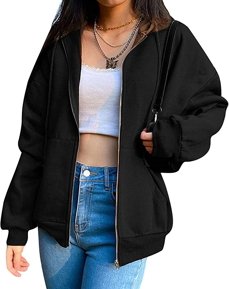 Damen Kapuzenjacke Kapuzenpullover Vintage Oversize Sweatjacke Sweatshirt College Jacke Übergangsjacke for Teenager Mädchen Y2K Fashion Top Zip Hoodie Frühling Herbst