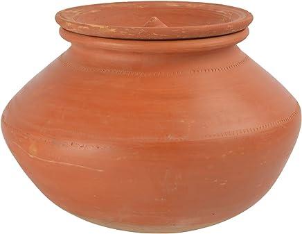 Vaghbhatt Clay Milk Handi with Lid, 4 litres, Brown