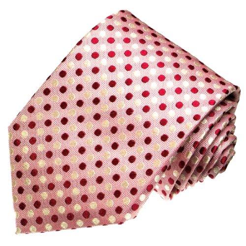 Lorenzo Cana - Marken Krawatte aus 100% Seide jacquard gewebt rose rosa weiß lachsfarben gepunktet - 42017