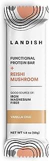 Landish Reishi Mushroom Superfood Protein Bar - Vanilla Chai - 50 Grams - Box of 12 - Gluten Free - Dairy Free - Nut Free - Peanut Free - Fill The Nutrient Void
