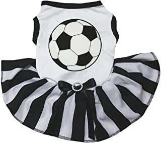 Petitebella Soccer White Shirt Black Striped Dress Puppy Dog Dress