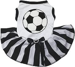 Petitebella Soccer White Shirt Black Striped Dress Puppy Dog Dress