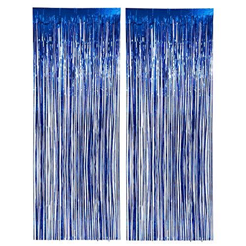 LIHAO Blau Folie Fringe Vorhang, 2 Stück Lametta Vorhänge Deko für Geburtstagsparty, Hochzeit, Silvester Weihnachten