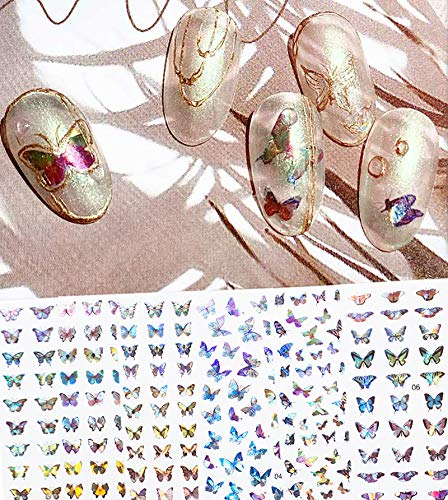 Colorful Laser 3D Butterfly Nail Art Stickers Decals,Self-Adhesive Spring Summer Nail Supplies Butterflies Nail Design for Women Girls,DIY Manicure Nail Decorations Kit(6 Sheets)