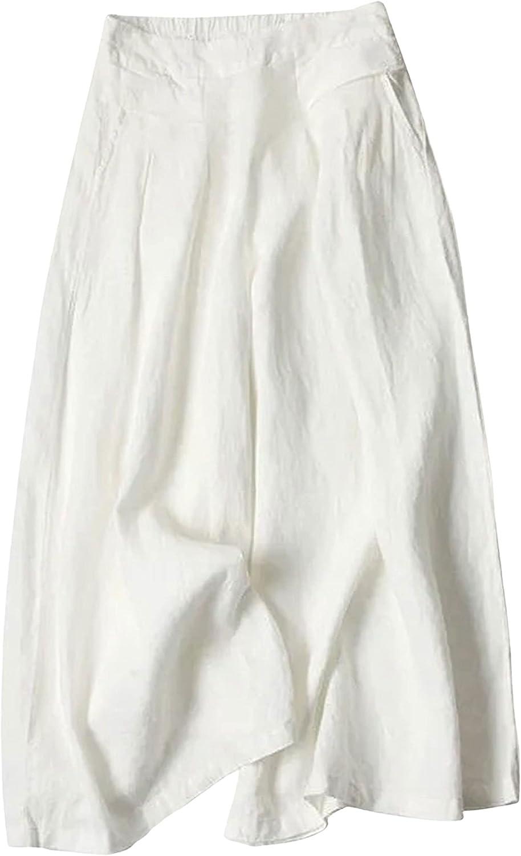 Hooever Women's Wide Leg Pants Casual Flowy High Waisted Linen Crop Pants