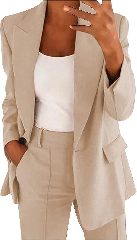Hemlock Women Office Work Blazer Formal Jacket Business Coat Open Front Cardigan Long Sleeve Slim Outwear