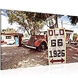 Bild Vintage Auto Route 66 Wandbild Vlies - Leinwand Bilder