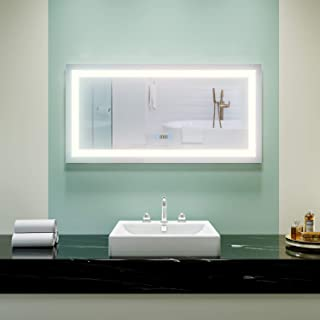 ELEGANT Frameless Makeup Bathroom Mirror, 48 in. W x 24 in. H Vanity Mirror with Lights Mounted LED Anti-fog Mirror with Clock Display Touch Control Adjustable Brightness, Natural White