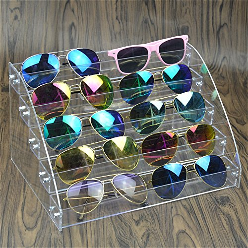 MineSign Sunglasses Organizer Clear Eyeglasses Display Case Eyewear Storage Tray Box For Glasses Tabletop Holder Stand (5 layer)