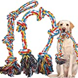 XXL Large Dog Toys Ropes for Aggressive Chewers,5 Knots Nearly Indestructible Cotton Rope for Large Breed,Heavy Duty Dog Chew Toys for Medium Dogs,Tough Dog Toys for Tug of War Set of 2
