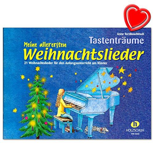 Mijn eerste kerstliedjes - toetsdromen van Anne Terzibaschitsch - 21 kerstliedjes in de vijftoonruimte voor het beginonderwijs aan de piano - met kleurrijke hartvormige notenklem