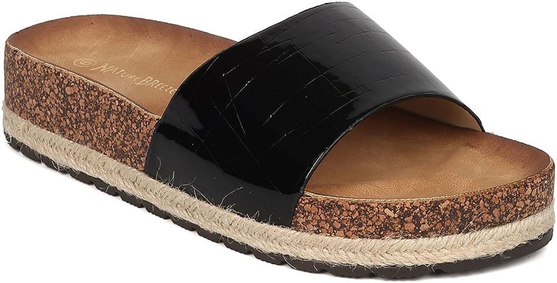 Women Patent Leatherette Reptile Open Toe Espadrille Footbed Sandal GH93