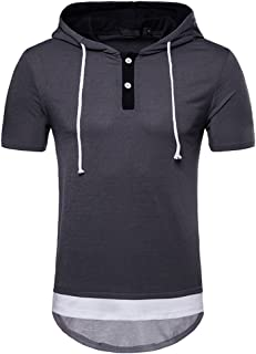 Mens Novelty 3D Graphic Fitness T Shirts Hood Drawstring Short Sleeve Pullover Gym Tee Tops