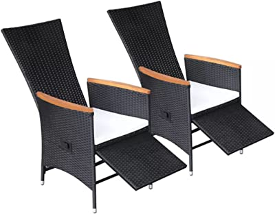 Asmuse Reclining Outdoor Dining Chairs 2 pcs Poly Rattan Acacia Wood