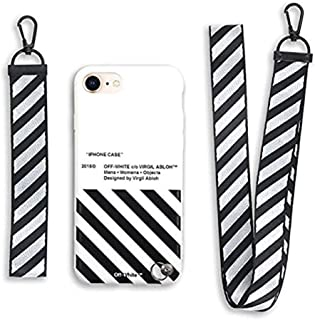 RawthenticNYC Hypebeast Designer x Street Fashion Case - Slim Flexible TPU Durable Protective Cover with Designer Lanyard for iPhone 7 & 8 (White & Black)