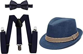 MYRISAM Kids 1920's Themed Party Costume Accessories Set Fedora Gangster Hat Adjustable Suspenders Bow Tie 3pcs Outfit 2-6T