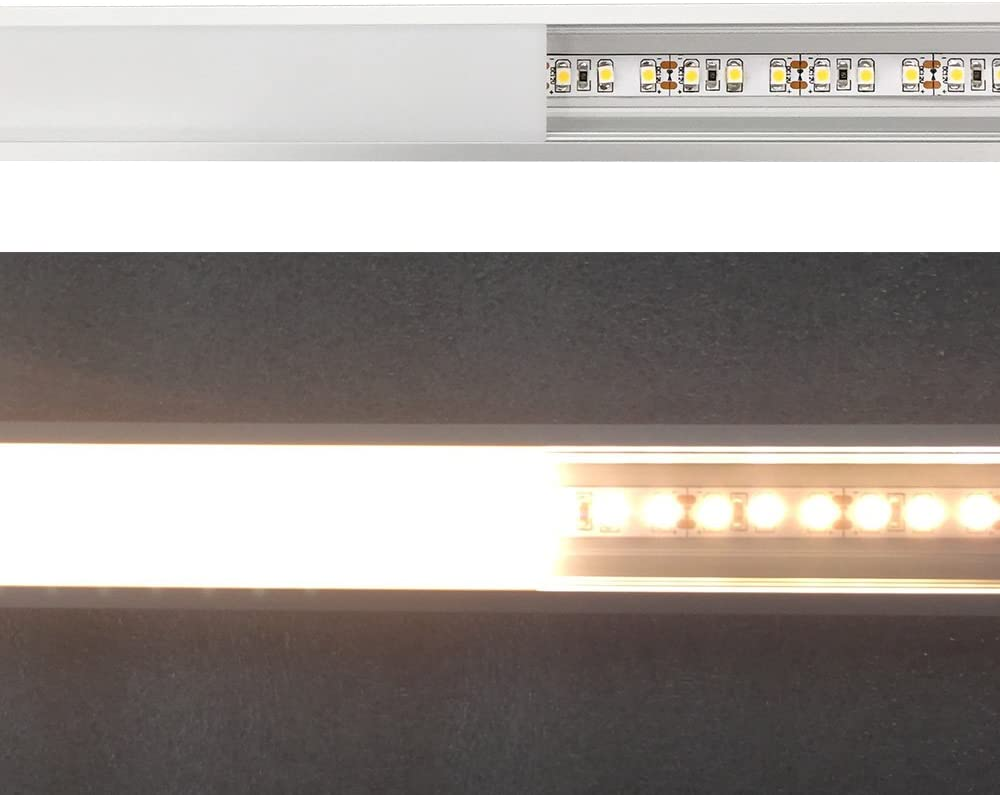 LED Aluminum Profile with Clear Cover Section Size:0.40 x 1.18 Anodized Silver Channel System for 20mm LED Strip Lights with Caps LightingWill 5 Pack 3.3Ft//1M U Shape Flush Mount Clips U03