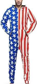 TWIFER Mens Jumpsuit Family 3D Star Printed Adult Sleepwear Nightwear Romper Playsuit Romper Overall