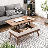 Bidiso Lift Top Coffee Table, Easy-to-Assembly Center Table with Hidden Storage Compartment, Modern Lift Tabletop Dining Table for Living Room Reception/Home Office, Walnut