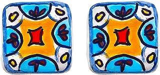 Orecchini in ceramica dipinti a mano – MATTONELLA MAIOLICA AZZURRA VIETRI - Orecchini pendenti da donna, Gioielli in ceram...