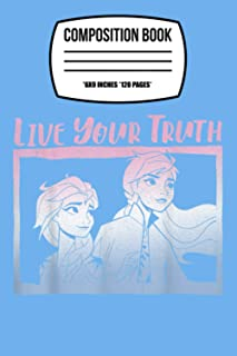 """Composition Notebook: Disney Frozen 2 Elsa Anna Live Your Truth Gradient Poster 120 Wide Lined Pages - 6"""" x 9"""" - Planner, ..."""