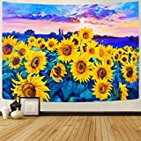 HLW Psychedelic Sunflower Tapestry Wall Hanging Gift for women men,Trippy Tapestry Hippie Art Tapestry Home Decor for Bedding Room Living Room (51'x59', sunflower-02)
