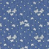Fabulous Fabrics Jeansstoff Chambray Schmetterlinge und