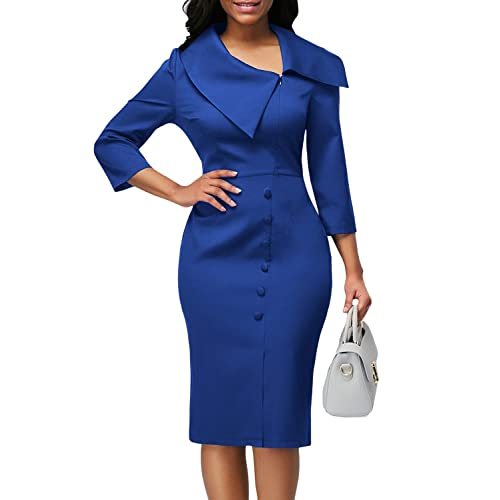 Asyoly Women Casual 3 4 Long Sleeve Button Detail Zipper Front Bodycon Midi  Dress 1ddd20425