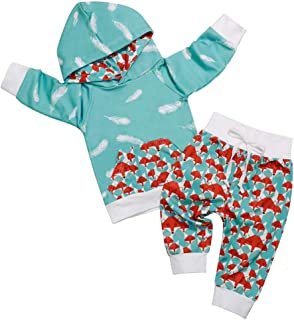 Baby Boy Girl Clothes Breathable Hoodie Sweatshirt Top+Kangero Pocket +Fox Print Pants Outfits Set