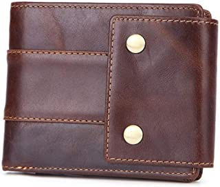 Mens Brown Leather Trifold Wallet - Front Pocket Wallet Money Clip Leather - 14 Card Coin Purse - Leather Wallets for Men ...