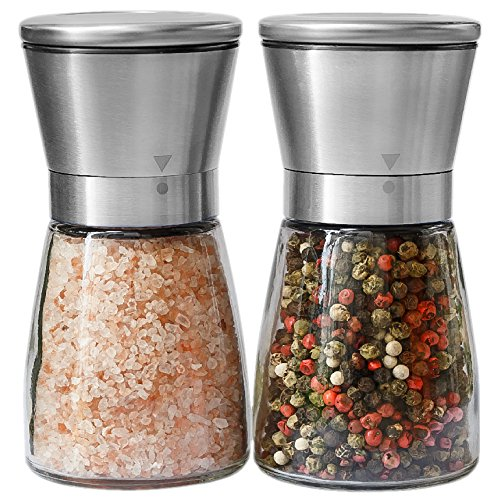 Salt and Pepper Grinder Set - Salt and Pepper Shakers for Professional Chef - Best Spice Mill with Brushed Stainless Steel, Special Mark, Ceramic Blades and Adjustable Coarseness