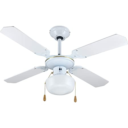 Zephir ZFS9107B Ventilateur décoratif de plafond E27, 60W - Blanc/Or