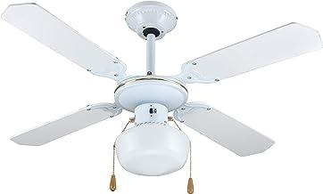 Zephir ZFS9107B Plafondventilator met verlichting, wit/goud, met 4 houten vleugels, diameter 107 cm