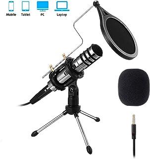 PC Micrófono, EIVOTOR Micrófono de Condensador con Conector de Audio de 3.5 mm, Plug and Play, Adecuado para Computadoras Portátiles, Teléfonos, Canto, YouTube...