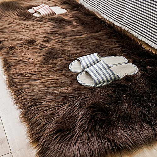 Carvapet Luxury Soft Faux Sheepskin Fur Area Rugs for Bedside Floor Mat Plush Sofa Cover Seat Pad for Bedroom, 2.3ft x 5ft,Brown
