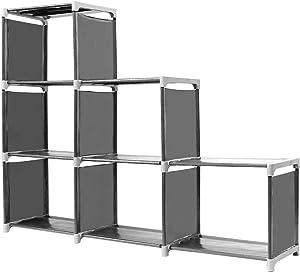 ISWEES Organizador Multifuncional Estantería Librería DIY de 3 Niveles 6 Cubos Almacenaje, Armario Abierto para Libros, Juguetes, Ropa, Herramientas, Capacidad Máxima,110 x 32 x 106 cm Negro