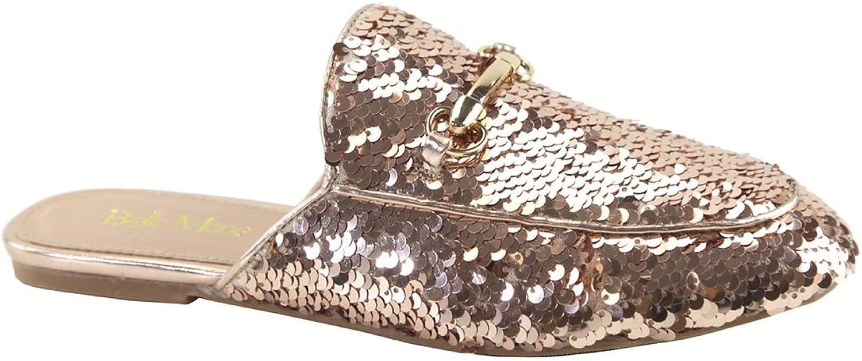 Bella Marie Gemma-20 Women Mule Oxford Slide Slip On Flat Loafer shoes Slipper Sequin Sparkle pink gold 6.5