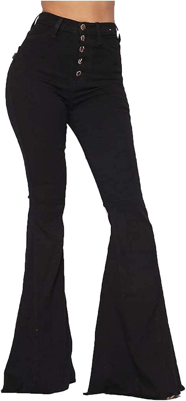Women's Frayed Raw Hem Max 45% OFF Bell Bottom Waist Fla unisex Size Plus Jeans Mid
