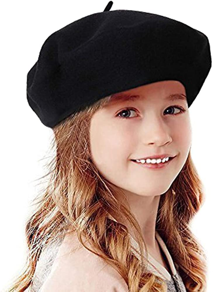 60s 70s Kids Costumes & Clothing Girls & Boys Bonaweite French Wool Berets Hat Classic Fashion Warm Beanie Cap for Girls  AT vintagedancer.com
