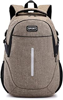 Simple Adult Backpack Computer Backpack Fashion Traveling Backpack Student School Bag High Capacity ; (Color : Khaki)