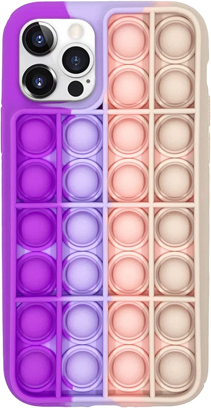 Fidget Toy Phone Case, Silicone Shockproof Phone Cover Push Pop Bubble Sensory Fidget Toy Stress Relief Phone Protective Case for iPhone 7,8,XR,11,11 Pro (for iPhone 11, Purple Pink)