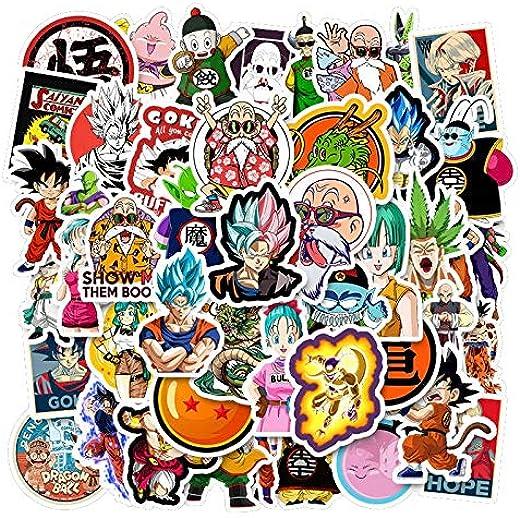 YellowCult™ 50 Random No-Duplicate DBZ Vinyl Stickers Pack to Customize Laptop, MacBook, Refrigerator, Bike, Skate Board, Luggage [Waterproof Stickers - Dragon Ball Z]