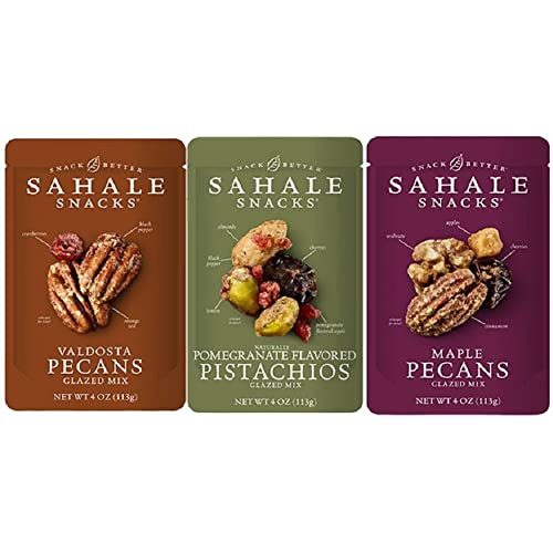 Sahale Snacks Glazed Nut Blends 3 Flavor Variety Bundle: (1) Sahale Snacks Maple Pecans With Walnuts, Cherries & Cinnamon, (1) Sahale Snacks Valdosta Pecans With Sweet Cranberries, Black Pepper & Orange Zest, and (1) Sahale Snacks Pomegranate Pistachios With Almonds, Cherries & Black Pepper, 4.0 Oz. Ea.