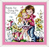 LovetheFamily クロスステッチキット DIY 手作り刺繍キット 正確な図柄印刷クロスステッチ 家庭刺繍装飾品 フレームがない 11CT ( インチ当たり11個の小さな格子)中程度の格子 刺しゅうキット - 31×32 cm 私の愛を与えてくれてありがとう