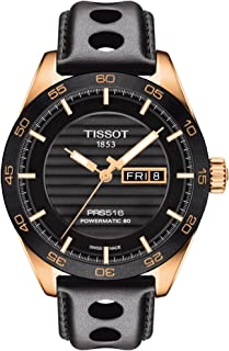 Tissot PRS 516 Powermatic 80 Mens Automatic Watch - Analog Black Face with Second Hand Day Date Sapphire Crystal 80 Hour Power Reserve Watch - Swiss Made Leather Band Rose Gold Watch T1004303605100