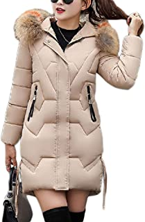 Women's Down Jacket Outdoor Light Windbreaker Cold Warm Thickening self-Cultivation Wild Zipper Hoodie Women (Color : Khaki, Size : L)